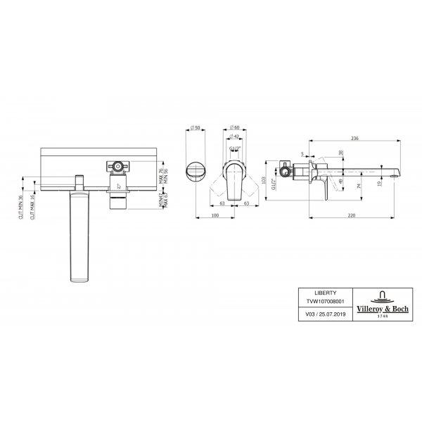 Второе изображение товара Смеситель для раковины Villeroy & Boch Liberty встраиваемый TVW10700800161