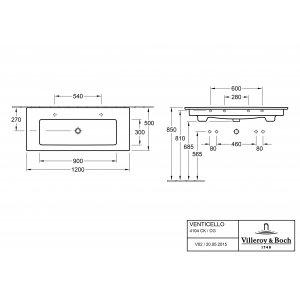 Раковина Villeroy & Boch Venticello 50 x 120 см CeramicPlus 4104CKR1