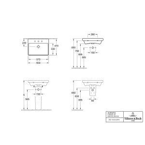 Раковина Villeroy & Boch Avento 47 x 60 см CeramicPlus 415860R1