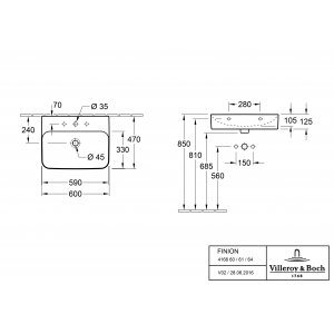 Раковина Villeroy & Boch Finion 47 x 60 см CeramicPlus 416861R1