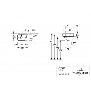 Раковина Villeroy & Boch Avento 36 x 22 см CeramicPlus матовый 43003LRW