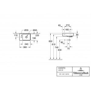 Раковина Villeroy & Boch Avento 36 x 22 см CeramicPlus 43003RR1