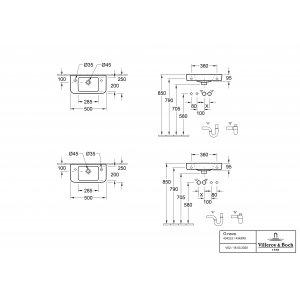 Раковина компактная Villeroy & Boch O.novo 50 x 25 см CeramicPlus 4342R5T2