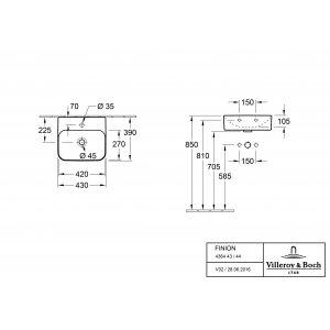Раковина Villeroy & Boch Finion 39 x 43 см CeramicPlus 436444R1