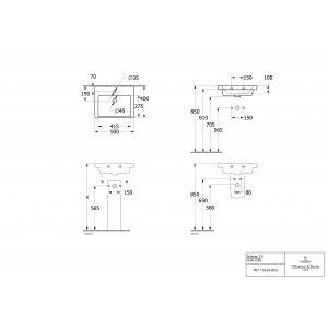Раковина компактная Villeroy & Boch Subway 3.0 50 x 40 см 4370FG01