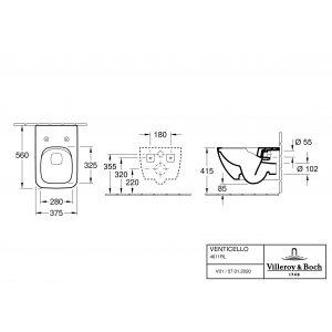 Унитаз подвесной с сиденьем Villeroy & Boch Venticello CeramicPlus 4611RLR1