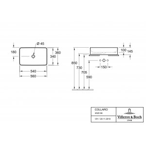 Раковина накладная Villeroy & Boch Collaro 36 x 56 см CeramicPlus матовый 4A2056RW