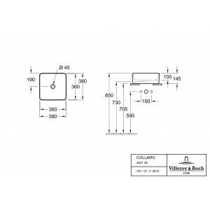 Раковина накладная Villeroy & Boch Collaro 38 x 38 см CeramicPlus 4A2138R1