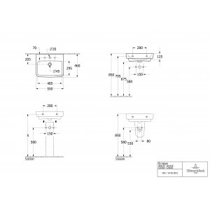 Раковина Villeroy & Boch O.novo 55 x 46 см CeramicPlus 4A4155T2