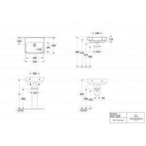 Раковина Villeroy & Boch O.novo 55 x 46 см CeramicPlus 4A4158T2