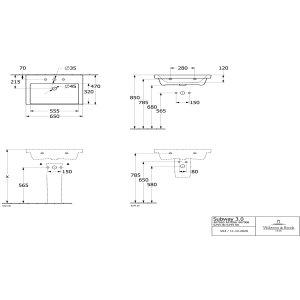 Раковина Villeroy & Boch Subway 3.0 65 x 47 см 4A706501