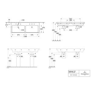 Раковина Villeroy & Boch Subway 3.0 двойная 130 x 47 см CeramicPlus 4A71D5R1