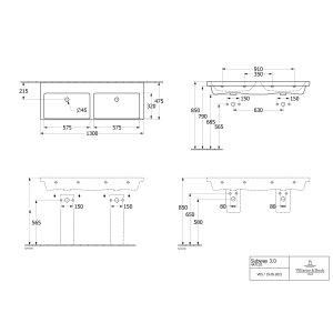 Раковина Villeroy & Boch Subway 3.0 двойная 130 x 47 см CeramicPlus 4A71D3R1