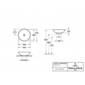 Раковина накладная Villeroy & Boch Loop & Friends 43 x 43 см CeramicPlus 514401R1