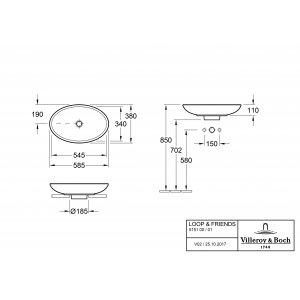 Раковина накладная Villeroy & Boch Loop & Friends 38 x 58.5 см CeramicPlus 515101R1