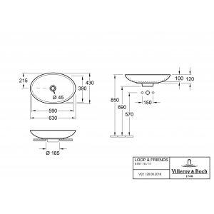Раковина накладная Villeroy & Boch Loop & Friends 43 x 63 см CeramicPlus 515111R1