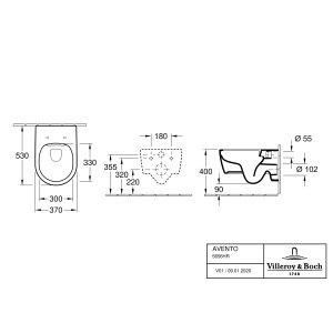 Унитаз подвесной с сиденьем Villeroy & Boch Avento CeramicPlus 5656HRR1