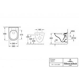 Унитаз подвесной укороченный с сиденьем Villeroy & Boch O.novo 5688HR01