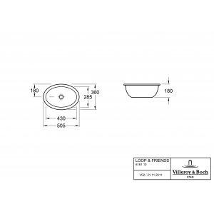 Раковина под столешницу Villeroy & Boch Loop & Friends 36 x 50.5 см CeramicPlus 616110R1
