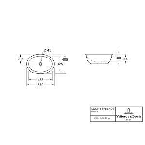 Раковина под столешницу Villeroy & Boch Loop & Friends 41 x 57 см CeramicPlus 616121R1