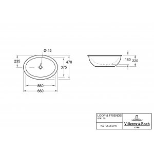 Раковина под столешницу Villeroy & Boch Loop & Friends 47 x 66 см CeramicPlus 616130R1
