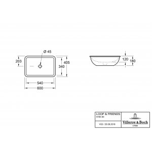 Раковина под столешницу Villeroy & Boch Loop & Friends 40.5 x 60 см CeramicPlus 616300R1