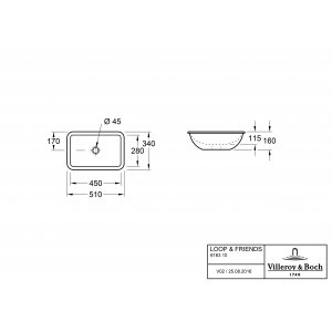 Раковина под столешницу Villeroy & Boch Loop & Friends 34 x 51 см CeramicPlus 616310R1