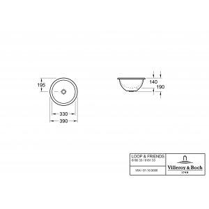 Раковина под столешницу Villeroy & Boch Loop & Friends 39 x 39 см CeramicPlus 618033R1