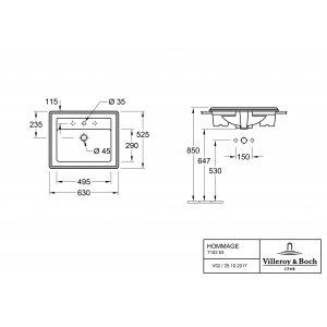 Раковина встраиваемая Villeroy & Boch Hommage 52.5 x 63 см CeramicPlus 710263R1