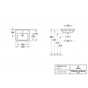 Раковина компактная Villeroy & Boch Subway 2.0 45 х 37 см 7315F501