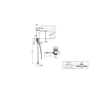 Смеситель для раковины Villeroy & Boch O.novo с донным клапаном TVW10410111061
