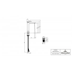 Смеситель для раковины Villeroy & Boch O.novo высокий с донным клапаном TVW10410511061