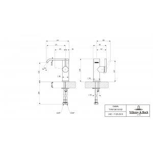 Смеситель для раковины Villeroy & Boch Dawn с боковым рычагом TVW10611615261