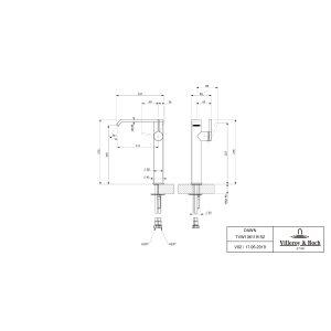 Смеситель для раковины Villeroy & Boch Dawn высокий с боковым рычагом TVW10611915261
