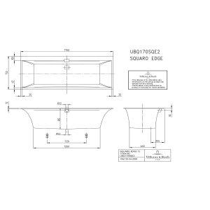 Ванна Villeroy & Boch Squaro Edge 12 170 x 75 см квариловая UBQ170SQE2DV-01